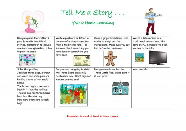 thumbnail of Once upon a time homework grid
