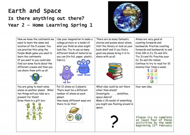 thumbnail of Earth and Space homework grid Spring 2019
