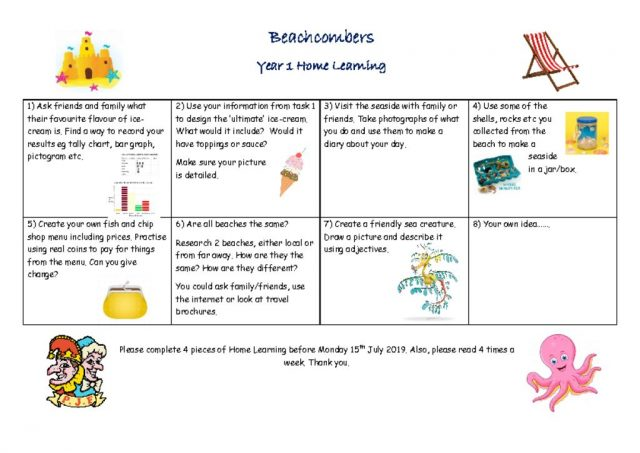 thumbnail of Beachcombers Home Learning Tasks