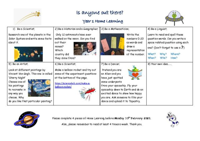 thumbnail of Space Home Learning Tasks